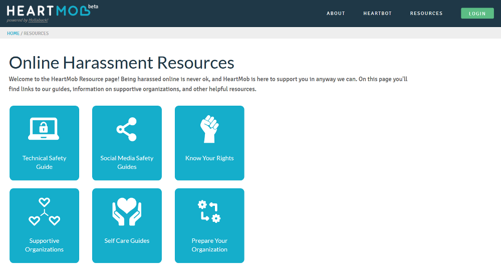 Heartmob: A page showing a list of resources for someone who has experienced online harassment