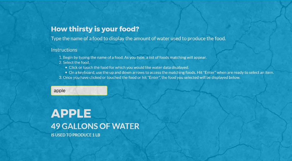 Water calculator for Got Drought showing water usage for a pound of apples